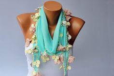 Turkish oya scarf mint turkish yemeni /hand crocheted door SenasShop