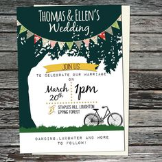 Items similar to Personalised Rustic Country Garden Wedding, Bicycle Invites on Etsy Country Wedding Invitations, Printable Wedding Invitations, Wedding Invitation Sets, Invites, Wedding Planning, Wedding Ideas, Wedding Cards, Rustic Wedding, Marriage