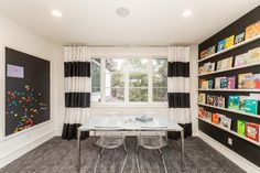 Browse black-and-white kids' room photos at HGTV, and see how designers use this monochromatic color palette to set the stage for modern kids' room designs. Kids Playroom Rugs, Colorful Playroom, Attic Playroom, Kids Rooms, Playroom Ideas, Playroom Decor, White Kids Room, Rainbow Bedroom, Kids Room Design