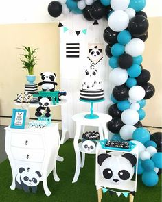 Panda party decorations for boys, this a classic black and white theme with a touch of blue. Great last minute diy birthday. Panda Party, Panda Themed Party, Panda Birthday Party, Baby Boy Birthday, Birthday Parties, Baby Shower Themes, Baby Boy Shower, Birthday Party Decorations, Party Themes