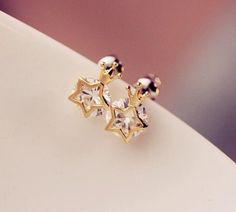 Shiny Crown Stars Studs