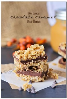 No Bake Chocolate Caramel Oat Bars ~ my kids love helping me with no bake treats and these look delicious!