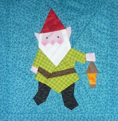 Gnome paper pieced quilt block pattern PDF by BubbleStitch on Etsy
