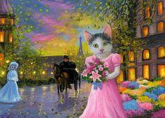 Kitten cat flower market Paris wet spring evening original aceo painting art #Miniature