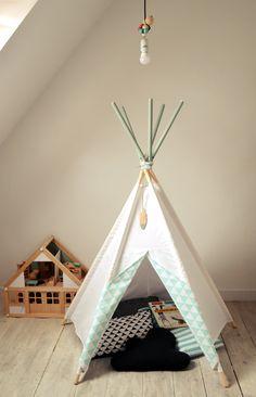 littlenomad teepee tipi wigwam play tent handmade white gray kidsroom https://www.facebook.com/HelloLittleNomad