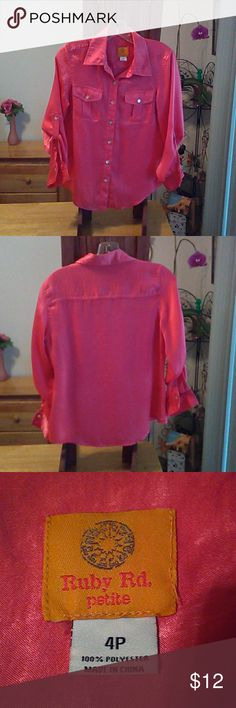 4 petite Blouse Pretty in pink. 100 % polyester feels like silk. Button up or down sleeves& breast pockets. Ruby Rd. Tops Blouses