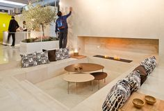 The fireplace area at Origin, our stand at Marmomacc 2015 designed by Héctor Ruíz Architects and winner of the Best Design by Best Communicator Awards