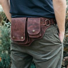 On the road traveling, going to that next festival, or just another urban gypsy wondering the streets? This hip bag will bring convenience to your life. Leather Fanny Pack, Leather Belt Bag, Leather Tooling, Suede Leather, Leather Men, Brown Leather, Cowhide Leather, Custom Leather, Leather Laptop Bag