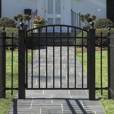 Garden gate iron gate low entry gate flagstone walk garden