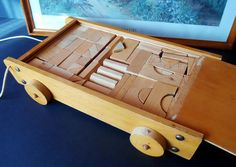 Vintage Wooden Blocks Box 1960s - Retro Wooden Toy Blocks Chariot on Wheels…