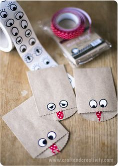 Monster Bags - Small paper bags, sticker eyes and cut pieces of fabric tape to make monster tongues or with Washi Tape