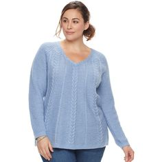 Plus Size SONOMA Goods for Life™ Cable-Knit Sweater ($30) ❤ liked on Polyvore featuring tops, sweaters, med blue, plus size, cable sweater, womens plus size sweaters, womens plus size tops, long sleeve sweater and blue crewneck sweater