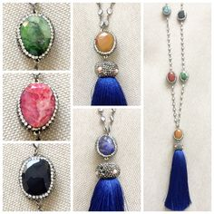 This gorgeous tassel  necklace with different gemstones✨ on each side ❤