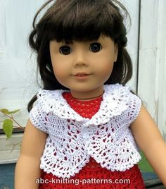 ABC Knitting Patterns - American Girl Doll Vintage Lace Bolero