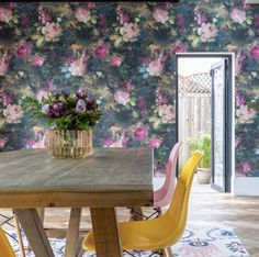 Our take on the 'Dutch Masters' moody floral look. Ava Marika is a dark, expressive floral originating from Lancashire with rouge red and blush pink flowers SHOP NOW Floral Print Wallpaper, Bold Wallpaper, Unique Wallpaper, Wallpaper Samples, Wallpaper Roll, Floral Prints, Dining Room Wallpaper, Neutral Paint, Design Repeats