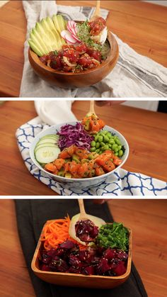 Poke Bowl 3 Ways Get creative with your poke bowls with 3 delicious ways of making them featuring tuna, salmon, and beets!<br> Get creative with your poke bowls with 3 delicious ways of making them featuring tuna, salmon, and beets! Healthy Dinner Recipes, Vegetarian Recipes, Cooking Recipes, Seafood Dishes, Seafood Recipes, Drink Recipes, Salmon Recipes, Asian Recipes, Raw Fish Recipes