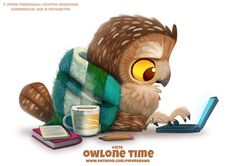 Owlone Time - Word Play by Cryptid-Creations on DeviantArt Cute Food Drawings, Cute Animal Drawings Kawaii, Kawaii Drawings, Pretty Animals, Cute Funny Animals, Animal Puns, Animal Food, Cute Fantasy Creatures, Creature Drawings