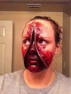 Halloween makeup - zipper face.