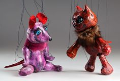 Cat and Mouse Czech Marionettes are wonderful couple of friends puppets made of ceramic. Bright colours and fun design will spice up any interior or collection. Puppet Making, Puppets, Cool Designs, Colours, Cats, Fun, Animals, Collection, Gatos