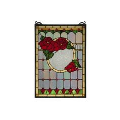 "Meyda Tiffany 119443 14"" W X 20"" H Morgan Rose (Pink) Stained Glass Window"