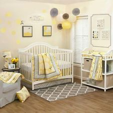 Floral Yellow and Gray Infant Baby Girls Nursery 4 Piece Crib Bedding Set