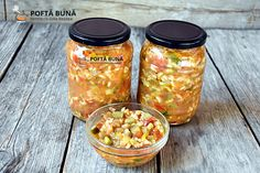 Tocana de legume Gin, Salsa, Mason Jars, Mexican, Ethnic Recipes, Food, Canning, Essen, Mason Jar