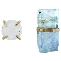 Melissa Joy Manning Aquamarine and Druzy Mismatch Stud Earrings ($325) ❤ liked on Polyvore featuring jewelry, earrings, 14 karat gold earrings, white stud earrings, druzy jewelry, druzy earrings and white earrings