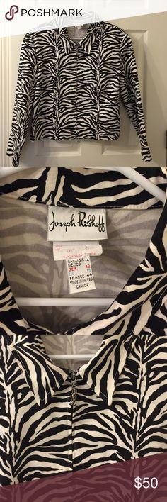 "Joesph ribkoff animal print jacket. Size 14 Gorgeous Joseph Ribkoff animal print cotton zip up jacket. US size 14. France size 44.. Chest 40"". Length 21"". joseph ribkoff Jackets & Coats Blazers"