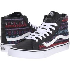 Vans SK8-Hi Slim Black/True White) Skate Shoes ($53) ❤ liked on Polyvore featuring shoes, sneakers, multi, white hi top sneakers, white high tops, high top skate shoes, vans sneakers and black leather shoes