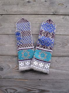 Brown and Turquoise Mittens Long Wool Gloves Wool by lyralyra