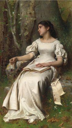 ✉ Biblio Beauties ✉ paintings of women reading letters & books -  Leon-Jean-Basile Perrault | Meditation