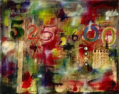 Eclectic, Abstract, Orginal Acrylic 525,600 MINUTES Collage. $350.00, via Etsy.