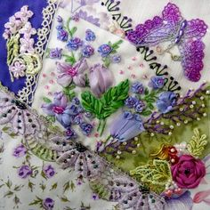 I ❤ crazy quilting & ribbon embroidery . . . February CQJP-   Working with a different color combination each month I choose purple and greens this time around... really enjoyed working with them.  ~By Nicki Lee