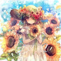 Anime girl in field of sunflowers Manga Anime, Manga Kawaii, Kawaii Anime Girl, Anime Art Girl, Anime Chibi, Manga Art, Pretty Anime Girl, Beautiful Anime Girl, Anime Angel