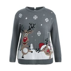 59ddd0d4508 Back Bowknot Snowflake Cartoon Pattern Christmas Sweater - Gray Xl. Mode  SalePull ...