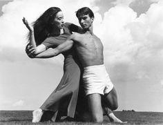 Modern dance pioneer Martha Graham with Erick Hawkins at Bennington College, Vermont, 1938, photo by Barbara Morgan