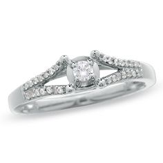 Zales 1/4 CT. T.w. Enhanced Black and White Diamond Split Shank Promise Ring in 10K White Gold