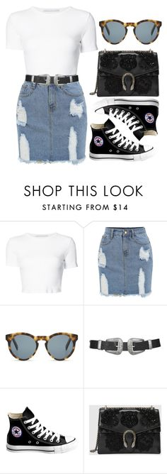 """""""Double buckle belt"""" by dontneedfashion ❤ liked on Polyvore featuring Rosetta Getty, DICK MOBY, Topshop, Converse, Gucci, set, sets, DnF and DNFfash"""