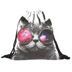 Unisex Backpacks 3D Printing Bags Drawstring Backpack(Glasses cat)39*30cn #Affiliate
