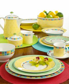 A mosaic checkerboard of color and fun, Twist Alea place settings are available in 3 mix-and-match designs: Limone, Verde, and Caro . each makes the perfect compliment to the full range of Twist Alea Limone accessories. | Villeroy & Boch Dinnerware, Twist Alea Collection via @macys