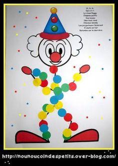 - voici le petit clown Peggy réalisé tout en gommette ! Le clown Peggy Hi, hi, hiQui a ri ?Le clown PeggyChapeau pointuDos bossuNez tout rondCheveux blondsLes projecteurs l'éclairentIl saute en l'airRetombe sur le derrière - Vous pouvez imprimer la fiche... Clown Crafts, Circus Crafts, Circus Art, Circus Theme, Diy For Kids, Crafts For Kids, Theme Carnaval, Summer Camp Art, Le Clown