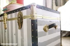Painted trunk with gray and white stripes