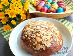 Velikonoční mazanec | NejRecept.cz Thing 1, Doughnut, Muffin, Food And Drink, Low Carb, Breakfast, Pastries, Advent, Drinks