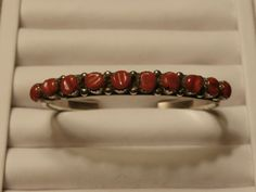 Augustine Largo Navajo,Sterling Silver Coral Red Cuff Bracelet,Men's by pasttimejewelry on Etsy