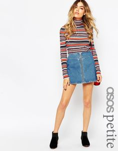 Image 1 of ASOS PETITE Denim A-Line Skirt With Zip Front