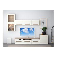 "BESTÅ / UPPLEVA Combi/TV 48""/s audio2.1 - motif noyer teinté gris/Marviken blanc verre transparent, glissière tiroir, fermeture silence - IKEA"