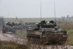 Warrior Infantry Fighting Vehicles are pictured during an exercise conducted by 2nd Battalion Royal Welsh (2 RWELSH).