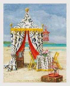 Limited Edition Prints - The Blue and White Pavilion - New Harrison Howard - Chinoiserie - Giclee - Tiger Flower Studio Decoupage, Beach Tent, Palm Beach, Flower Studio, Chinoiserie Chic, New Art, Illustrators, Pergola, Pool Gazebo