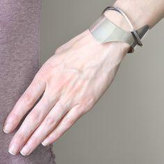 ED WIENER Vintage Sterling Silver Modernist Cuff Bracelet