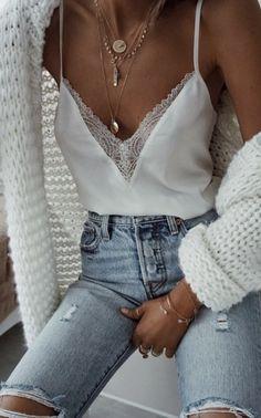 lace trim cami + distressed denim + chunky knit cardigan